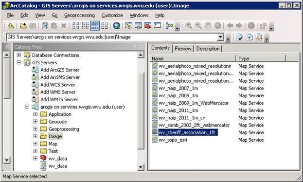 Service list seen via ArcCatalog