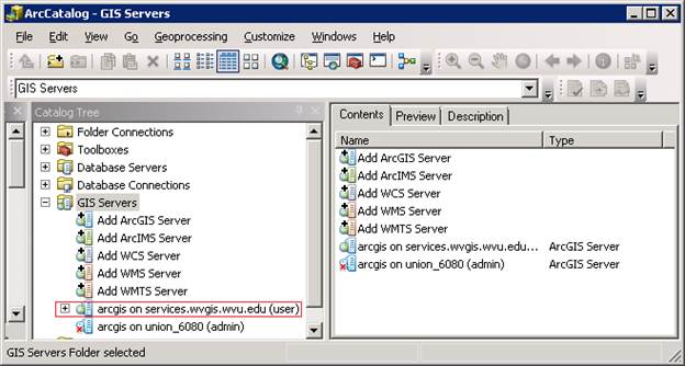 Remote server is added to ArcCatalog