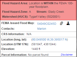 WV Flood Determination Tool