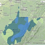 Image of the state of West Virginia with colored zones for different growing regions